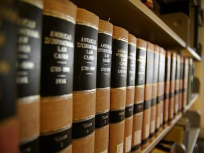 Law books in a row on a shelf