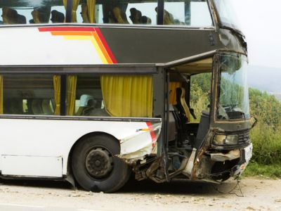 An old damaged double decker bus