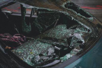 Shattered Windsheild of Car