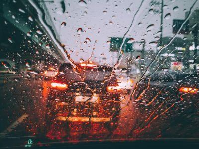 Rain drops on car windshield