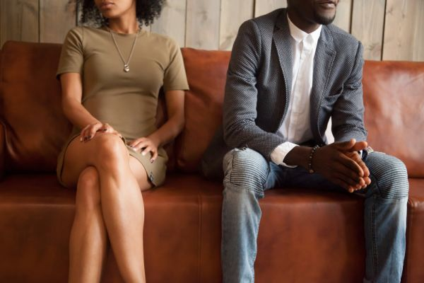 Couple dressed up nice sitting on a couch