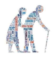 Una coppia anziana collage di termini sanitari