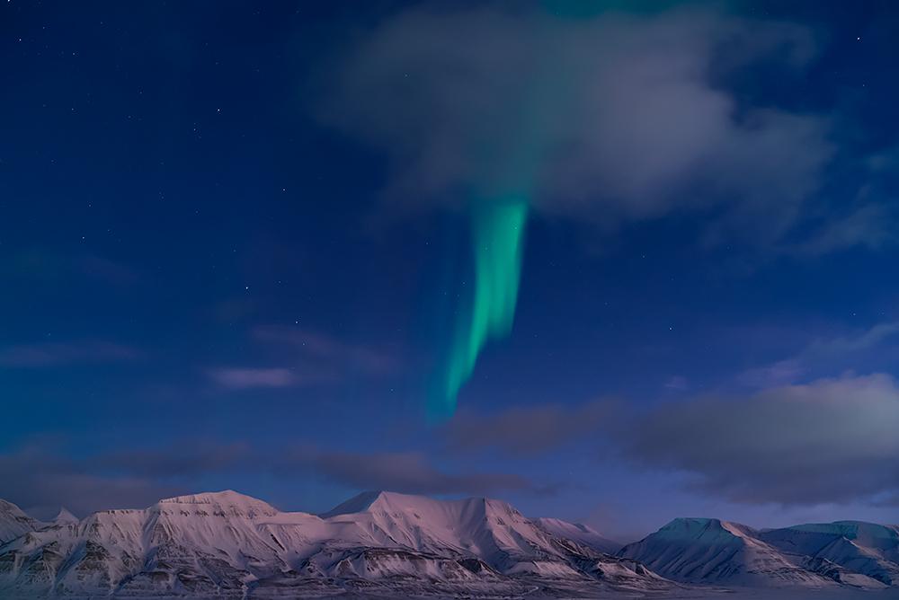 Aurora over Svalbard archipelago, Norway.