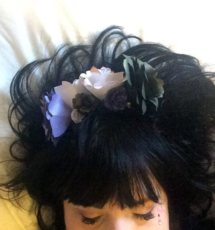 Purple, White and Black Hair Clip Worn