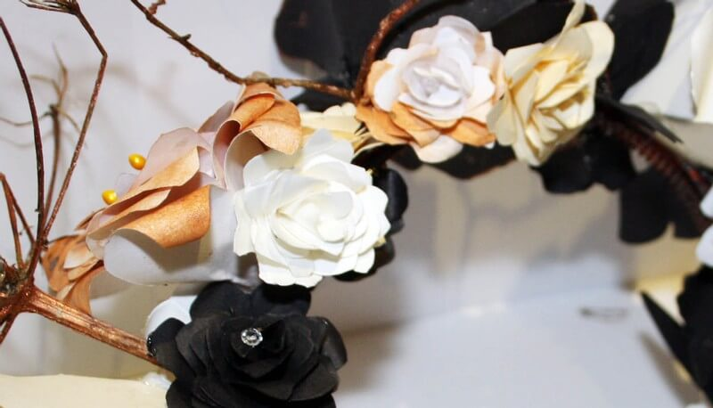 Cream, Black and Bronze Headband Close Up