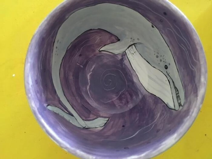 Hand painted Whale Bowl