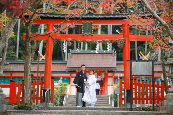 大原野神社で、紅葉と撮影