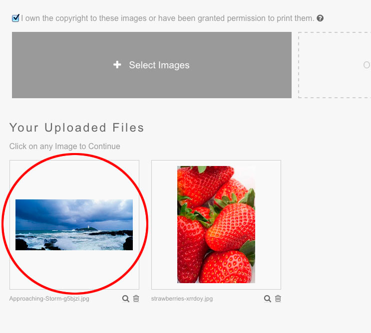 upload and select your image file