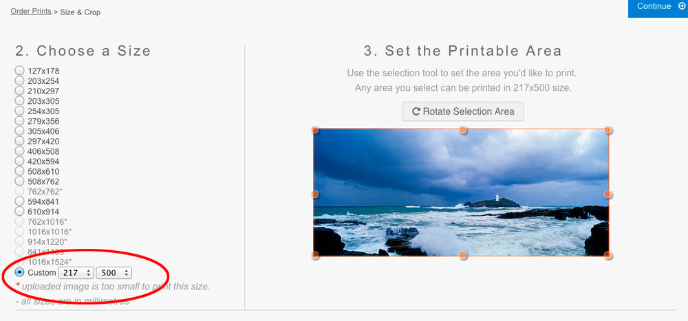 select the custom print size option