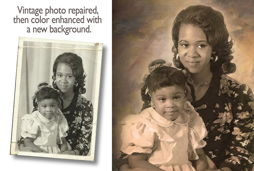 Vintage Photo Painting with new background