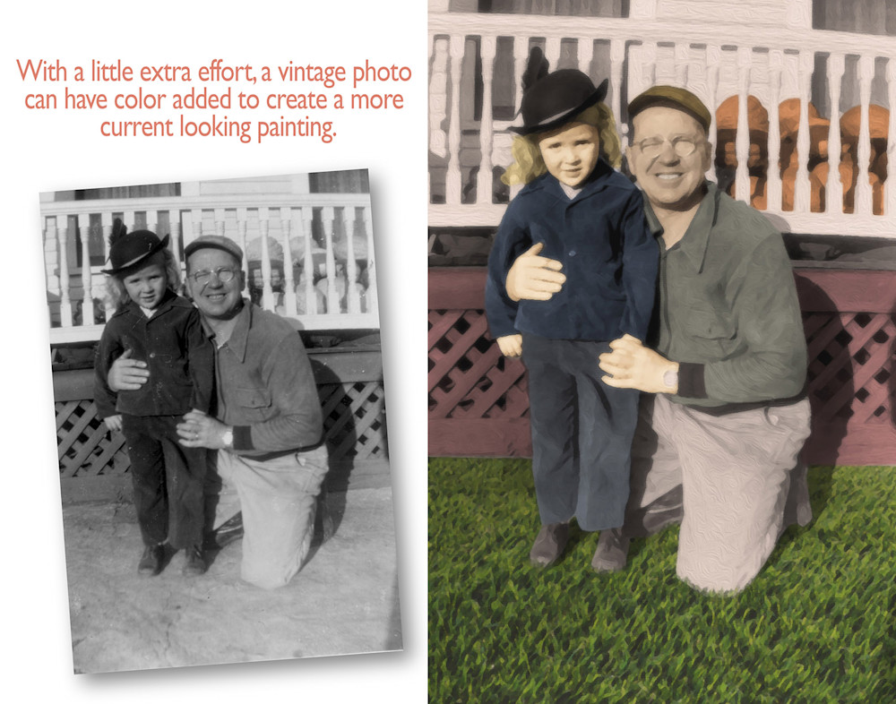 Colorizing a vintage photo on canvas