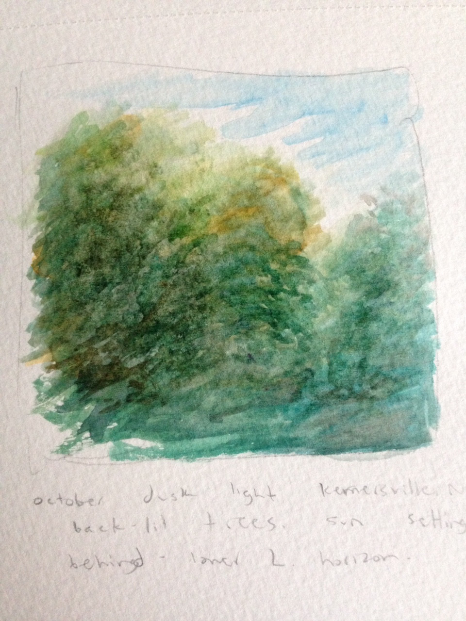 trees sunset watercolor sketch rafferty painting