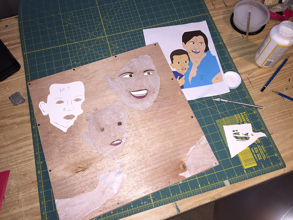 (This process photo shows the works with the yes, lips and eyebrows applied.)