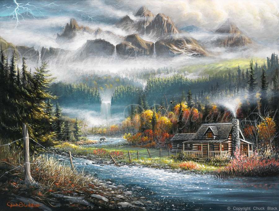 Paradise valley montana themed landscape painting