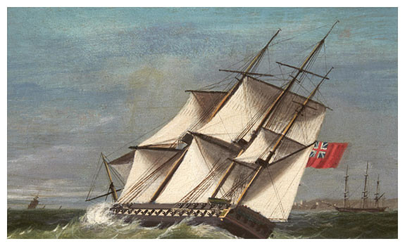 A British Frigate on the Wind by James Edward Buttersworth
