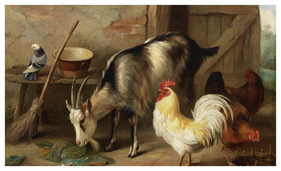 A Goat, Chicken and Doves in a Stable by Edgar Hunt