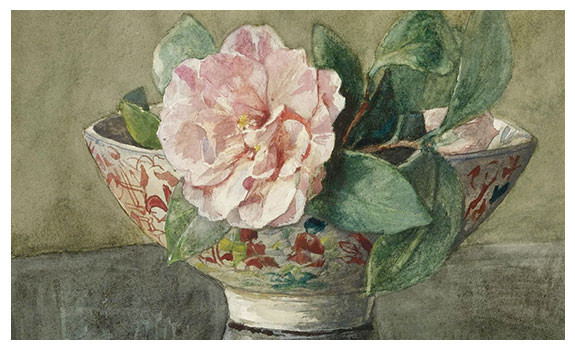 Camellia In An Old Chinese Vase on Black Lace by John LaFarge