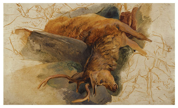 A Dead Stag with Sketched Figures of a Ghillie and Hounds by Edwin Henry Landseer