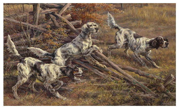 Three English Setters Clearing a Fence by Edmund Henry Osthaus