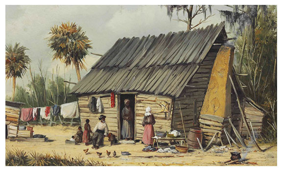 A Cabin Scene with Washing on the Fence by William Aiken Walker