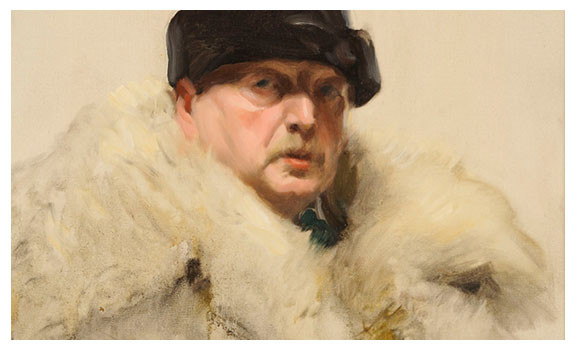 Self Portrait in a Wolf Skin Coat by Anders Zorn