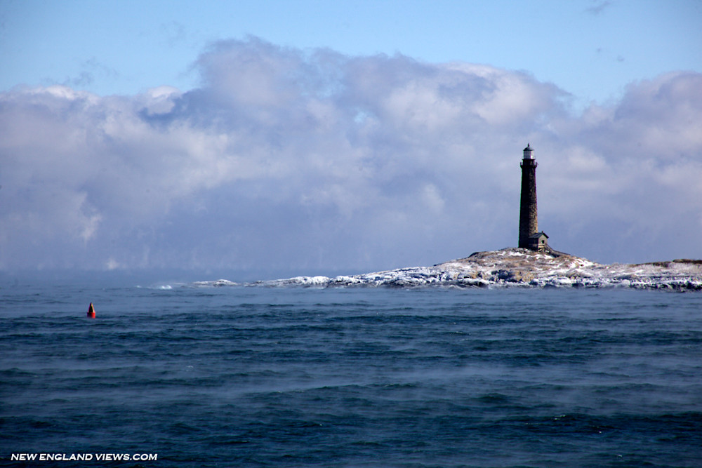 Lighthouse, Thatcher's Island, Sea Smoke, Twinlights, Ice, Winter
