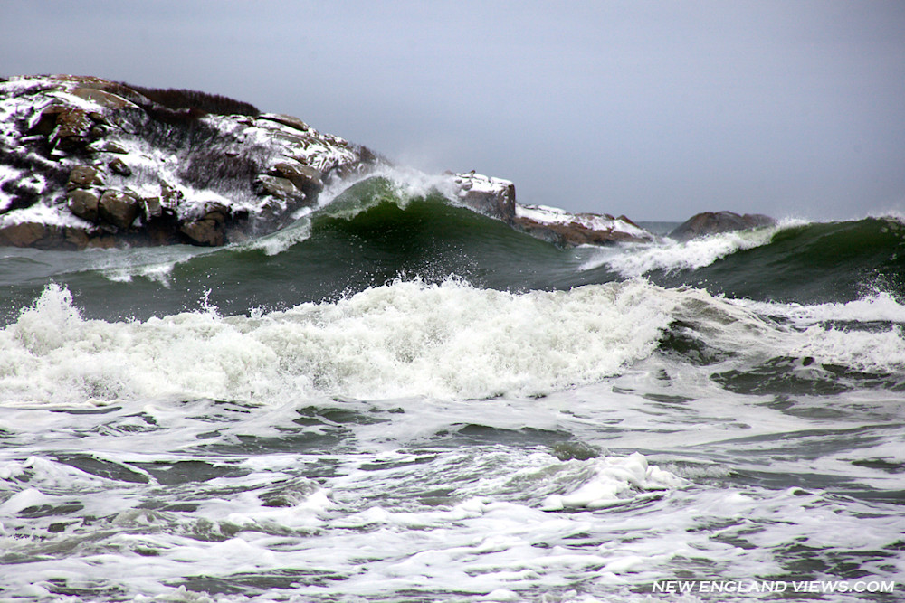 Green Wave, Storm, Good Harbor Beach, Gloucester, Snow, Island