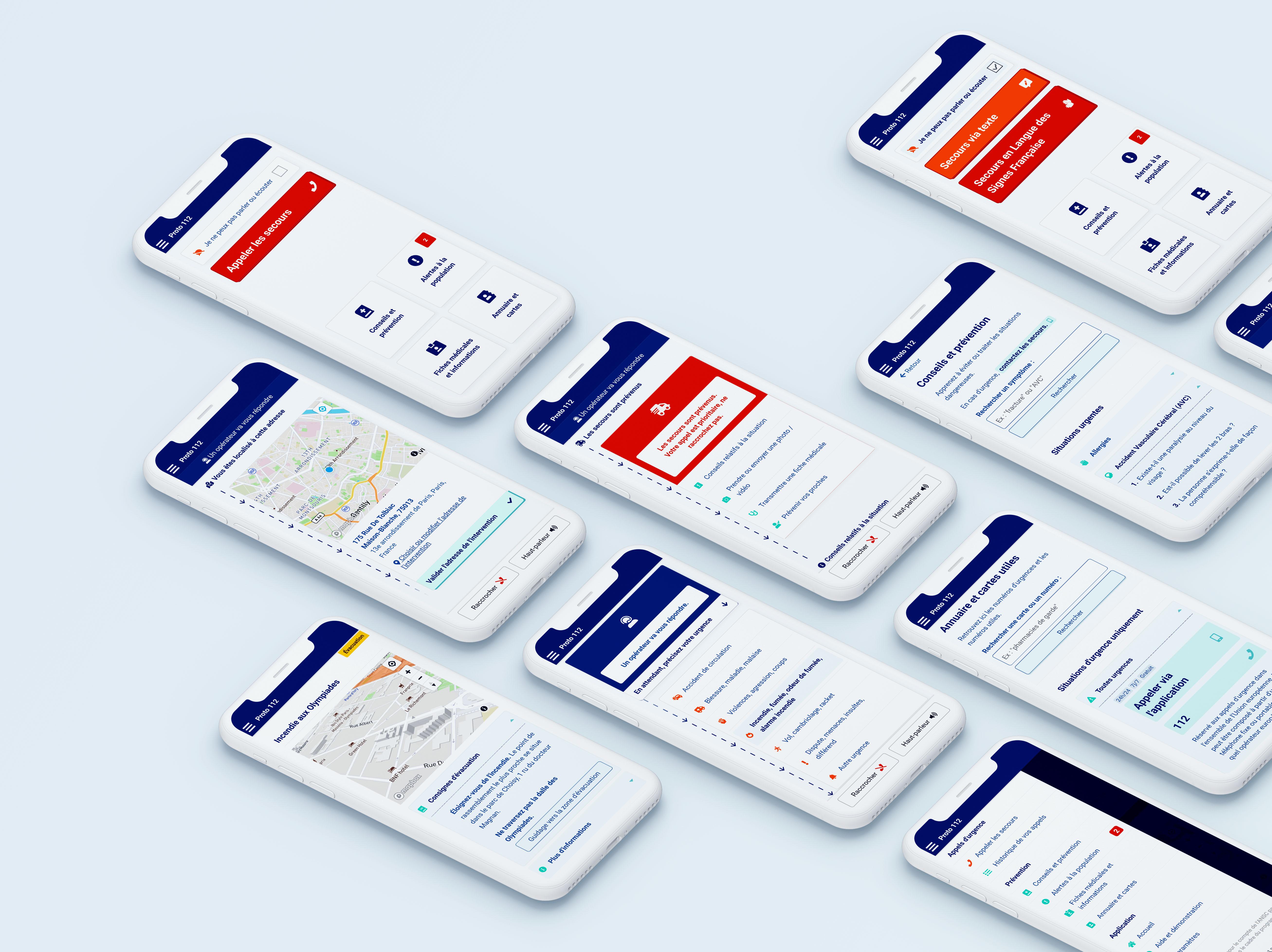 Plusieurs écrans du prototype d'application 112 présenté dans des téléphones