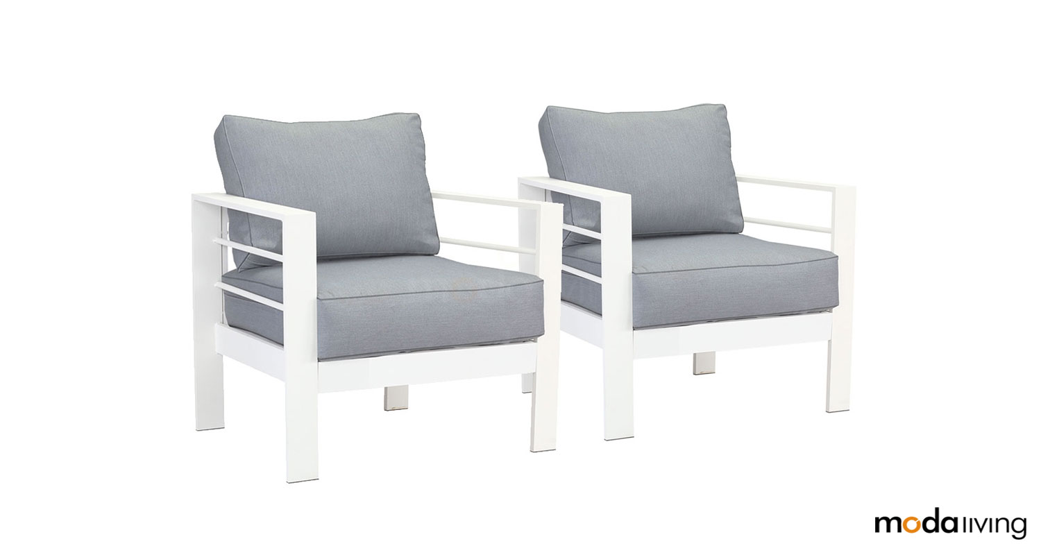 Surprising Details About 2 X New White Single Seater Aluminium Outdoor Sofa Lounge Furniture Arms Chairs Pabps2019 Chair Design Images Pabps2019Com