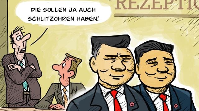 Die Bank of China vertritt die Interessen des Landes mit dem grössten CO2-Ausstoss. (Karikatur: Helmut Jacek)