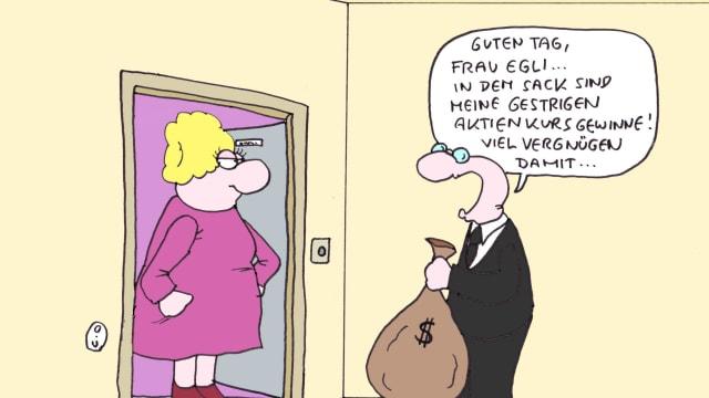 Die 99-Prozent-Initiative will Kapitalgewinne stärker besteuern(Karikatur: Clemens Ottawa).