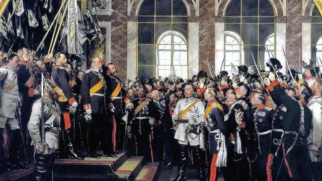 Im Januar 1871 wurde im Spiegelsaal von Versailles bei Paris das deutsche Kaiserreich ausgerufen. Wenige Monate später wollten auch die Deutschen von Zürich den Sieg über Frankreich und die Wiedererstehung des Reiches feiern. (Bild: Anton von Werner: Die Proklamierung des deutschen Kaiserreiches, 1885, Bismarck-Museum Friedrichsruh).