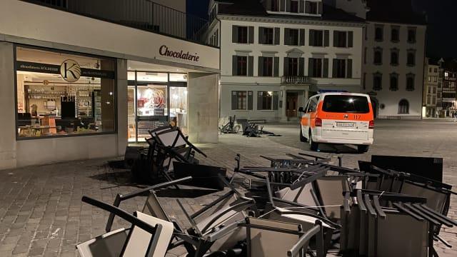 Polizeinaufnahme nach der Krawallnacht in St.Gallen. (Bild: Kapo SG)