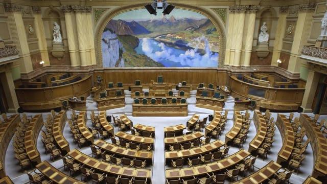 Leerer Parlaments-Saal. Quelle: parlament.ch
