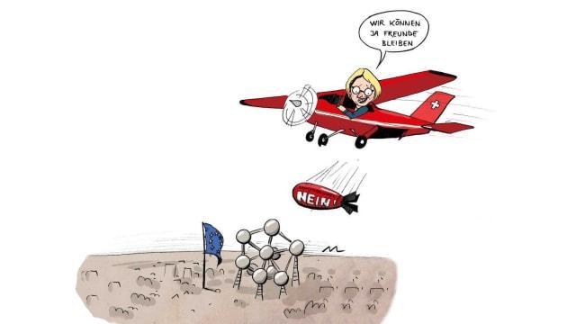 Livia Leu flog direkt nach Brüssel - der Nebelspalter war dabei (Karikatur: Marina Lutz)