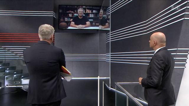 Soll nicht mehr im SRF zu sehen sein: Marco Rima wird in der «Arena» eingeblendet. (Bild: Screenshot SRF)