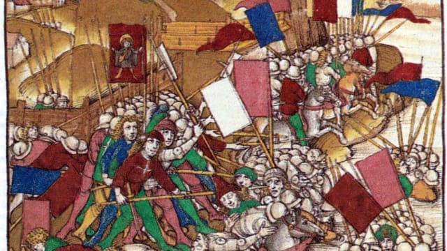 Schlacht bei Näfels, 9. April 1388, (Spiezer Chronik).