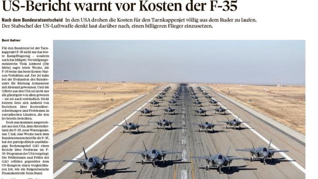 Gewagte Schlagzeile: Der «Tages-Anzeiger» kritisiert die amerikanischen Flugzeuge. Bild: Screenshot