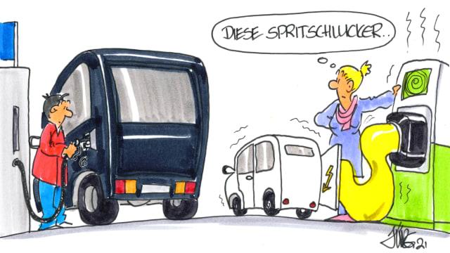 Elektromobile brauchen beim Laden viel Strom. Bild: Jürg Kühni