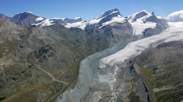 Ist der Rückzug der alpinen Vereisung einzigartig? Findelgletscher bei Zermatt. Bild: Keystone