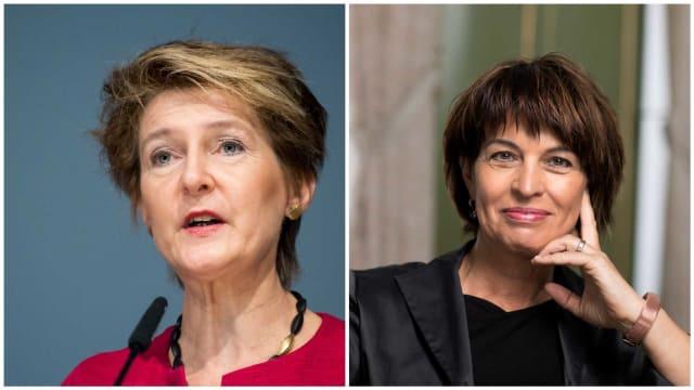 Keine Ende der Subventionen für Ökostrom: Energieministerin S. Sommaruga (SP, links) und ihre Vorgängerin D. Leuthard (CVP). Bild: Keystone
