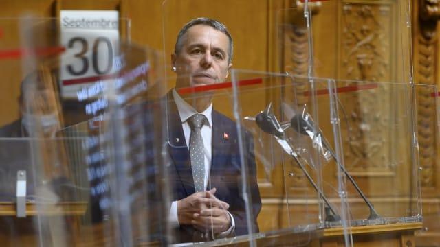 Bundesrat Ignazio Cassis in der Debatte über die Kohäsionsmilliarde (Bild: Keystone, Anthony Anex).