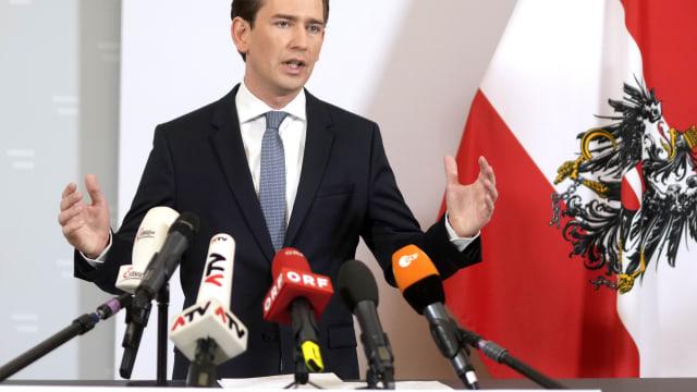 Der österreichische Bundeskanzler bei seiner Rücktrittserklärung vom Samstag. (Bild: Keystone, Georg Hochmuth)