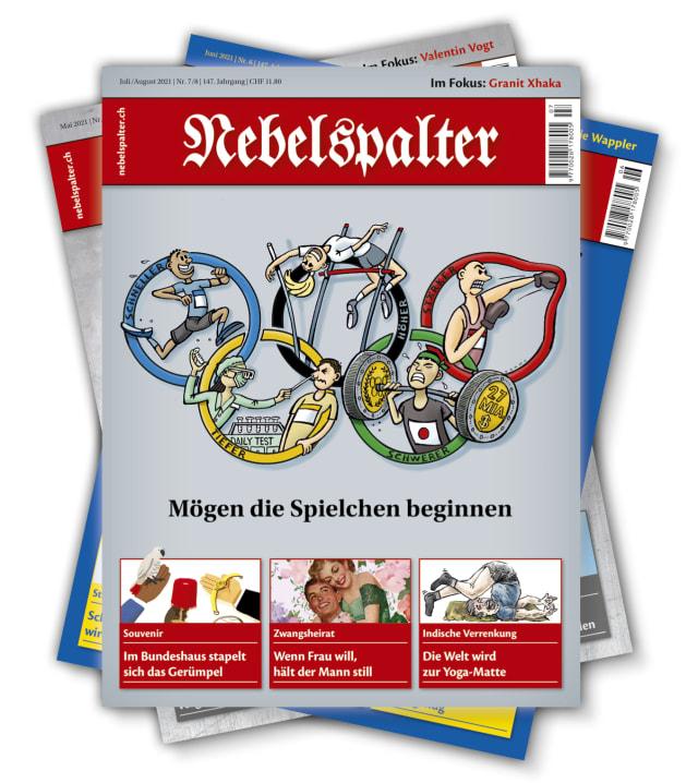 Nebelspalter Print-Ausgabe, Titelbild 7/8 2021 (Marco Ratschiller)