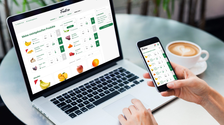 Früchtehandel Online auf Laptop und Mobile
