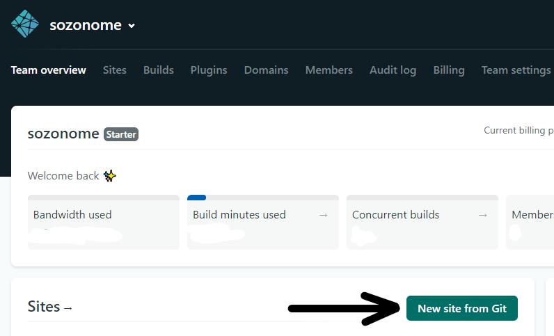 Klik New site from Git