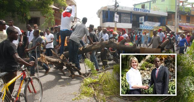 Image result for haitians protest visit of kelly craft