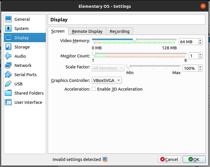 display screen setting