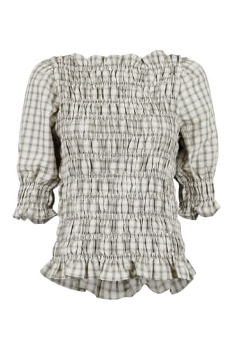 KARA SMOCK CHECK TOP