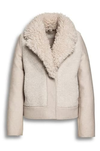 Fur-Wool Mix Cropped Coat